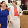 Fitchburg Mayor Lisa Wong greets Maura Healey, candidate for Attorney General, during the event held at Sunrise Diner in Fitchburg on Tuesday evening, sponsored by the Mayor, Susan Chalifoux Zephir and Lynda Tocci. SENTINEL & ENTERPRISE / Ashley Green