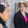 Maura Healey listens to Fitchburg Mayor Lisa Wong as she Endorsed for Attorney General on Monday at the Fitchburg Public Library.  SENTINEL & ENTERPRISE/JOHN LOVE