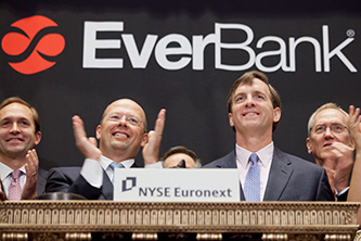 NEW YORK, NY - MAY 3:  Chairman and CEO Robert Clements of EverBank Financial Corp rings the opening Bell at the New York Stock Exchange on May 3, 2012 in New York City. (Photo by Ben Hider/NYSE Euronext)