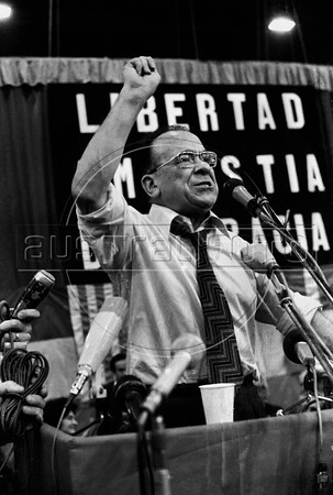 Santiago Carrillo, historic leader of Spanish Communist Party (PCE) during a meeting in Geneva, Switzerland, July 23, 1974. (Austral Foto/Renzo Gostoli)