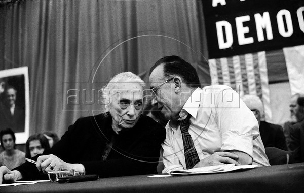 "Dolores Ibarruri, ""La Pasionaria"", left and Santiago Carrillo, right, historic leader of Spanish Communist Party (PCE) during a meeting in Geneva, Switzerland, July 23, 1974. (Austral Foto/Renzo Gostoli)"