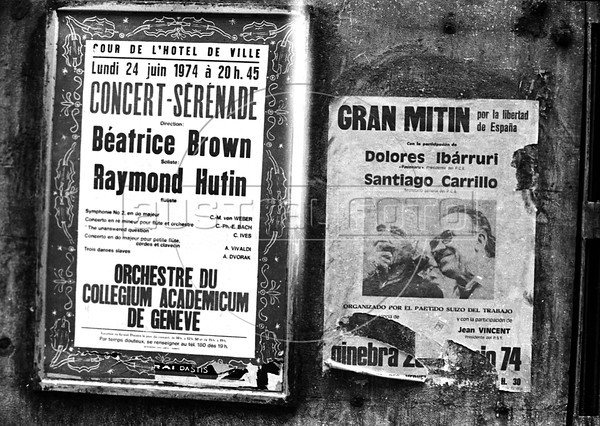 Poster of Spanish Communist Party (PCE) meeting in Geneva, Switzerland, July 23, 1974. (Austral Foto/Renzo Gostoli)