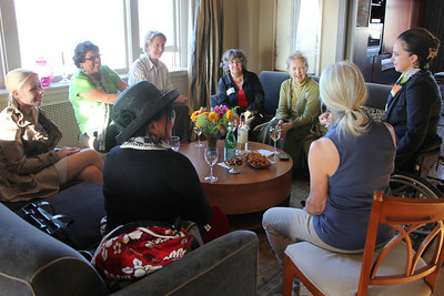 Clockwise from upper left: Lisa Peters (striped shirt), Helynna Brooke, Marilyn Fowler, Michela Alioto-Pier, Lynne Newhouse Segal, Lara Arguelles, Sarah Geller.