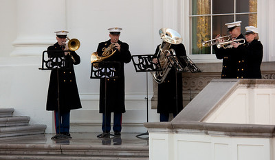 "Playing ""O Christmas Tree"" was the horn section of the Marine Band"