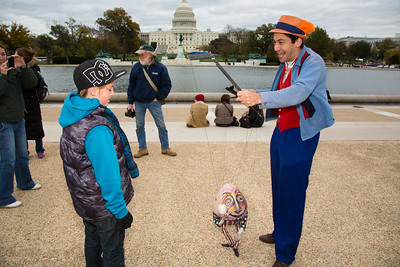 Puppeteer Ronny Wasserstrom of Brooklyn NY entertains Kaleb Williams (age 9)