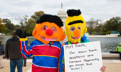 Katie Ringeisen and Christina Fetzko of Landover MD and Bert and Earnie of Sesame Street
