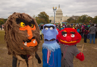 Muppet characters Sweetums, Sam the Eagle and Animal