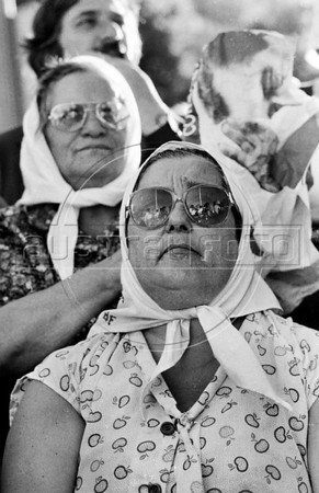 Hebe de Bonafini, the head of Argentina's Mothers of Plaza de Mayo group, whose children disappeared during the dirty war of 1970s, leads one of the marches in Buenos Aires's Plaza de Mayo, Buenos Aires, Argentina, December, 1987. (Austral Foto/Renzo Gostoli)