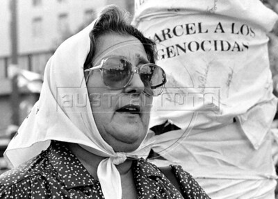 Hebe de Bonafini, the head of Argentina's Mothers of Plaza de Mayo group, whose children disappeared during the dirty war of 1970s, leads one of the marches in Buenos Aires's Plaza de Mayo, Buenos Aires, Argentina, April 30, 1987. (Austral Foto/Renzo Gostoli)