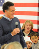 2012  Republican Presidential candidate, Mitt Romney, reacts to an amusing remark by a questioner during a town hall style meeting at the Kennett Middle School, in Conway, NH, on December 22nd, 2011.