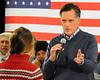 2012 Republican Presidential candidate, Mitt Romney, addresses a question from college student, Kallie Durkit, of Conway, NH, about her concerns over the high tuition costs to attend top universities and colleges, during a town hall style meeting at the Kennett Middle School, in Conway, NH, on December 22nd, 2011.