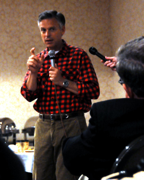Former Utah governor, and ambassador to China, Jon Huntsman, answers a question from an audience member, during a breakfast event at the North Conway Grand Hotel, in North Conway, NH, on June 4th, 2011.