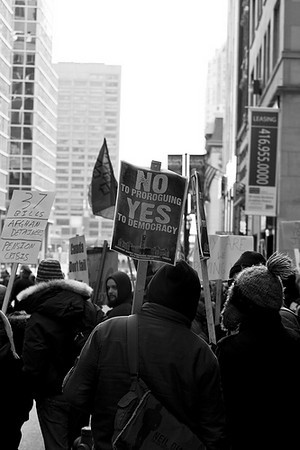 "January 20/10 Toronto Canada.<br /> <br /> In a precursor to the larger rallies occurring on the weekend (January 23/10), a group of protesters arrived in downtown Toronto on Wednesday to voice their discontent with Stephen Harper and his prorogation of parliament. Harper was in town to attend a round table meeting at the C.D. Howe Institute.<br /> <br /> Courtesy of Josh Jensen. Toronto Ontario Canad <a href=""http://www.flickr.com/photos/jwjensen/sets/72157623126237197"">http://www.flickr.com/photos/jwjensen/sets/72157623126237197</a>"