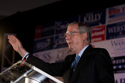 Senate Minority Leader Mitch McConnell (R-KY), speaks during RNC Election Night Results Watch event in Washington, DC, on November 2, 2010. Democrats narrowly held their Senate majority in mid-term elections held earlier in the day. (Photo by Jeff Malet)