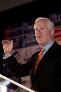 Sen. John Cornyn (R-TX), Chairman of the National Republican Senatorial Committee, speaks during RNC Election Night Results Watch event in Washington, DC, on November 2, 2010. (Photo by Jeff Malet)