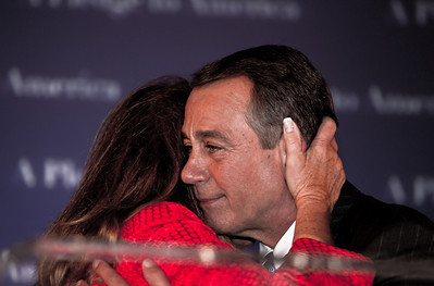 House Republican Leader John Boehner embraces his wife Debbie after he delivered an emotional victory speech following major Republican gains in Congressional Elections. Boehner is expected to become the new Speaker of the House replacing Democrat Nancy Pelosi.  The Ohio Republican declared that the American people sent a message to President Obama at the ballot box. Boehner made his speech shortly before midnight at the Grand Hyatt Hotel in Washington DC on Tuesday, November 2, 2010. (Photo by Jeff Malet)