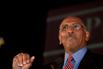 The National Republican Congressional Committee chairman Michael Steele speaks during RNC Election Night Results Watch event in Washington, DC, on November 2, 2010. (Photo by Jeff Malet)