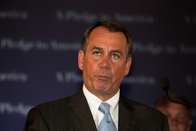 House Republican Leader John Boehner broke into tears as he delivered his victory speech following major Republican gains in Congressional Elections. The Ohio Republican is expected to become the new Speaker of the House replacing Democrat Nancy Pelosi. Boehner declared that the American people sent a message to President Obama at the ballot box. He made his speech shortly before midnight at the Grand Hyatt Hotel in Washington DC on Tuesday, November 2, 2010.  (Photo by Jeff Malet)