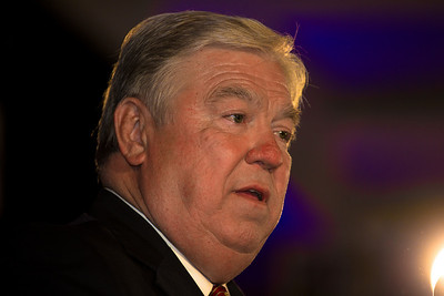 Republican Governors Association Chairman Haley Barbour (R-Miss) speaks during RNC Election Night Results Watch event in Washington, DC, on November 2, 2010. Republicans made major gains in state races. (Photo by Jeff Malet)