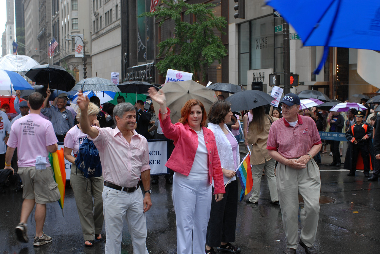 NYC Gay Pride Parade 2006<br /> Parade Co-Grand Marshall Florent, NY City Council Speaker and Parade Co-Grand Marshall Christine Quinn at the head of the March. ©2006 Mark Forman Productions, Corp. screeningroom.com