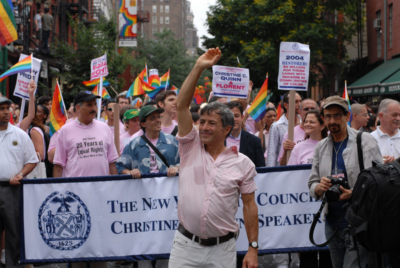 NYC Gay Pride Parade 2006<br /> Parade Co-Grand Marshall Florent at the head of the March. ©2006 Mark Forman Productions, Corp. screeningroom.com