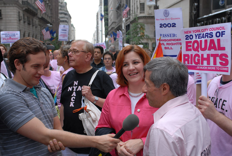 NYC Gay Pride Parade 2006<br /> Parade Co-Grand Marshall Florent, NY City Council Speaker and Parade Co-Grand Marshall Christine Quinn at the head of the March being interviewed ©2006 Mark Forman Productions, Corp. screeningroom.com