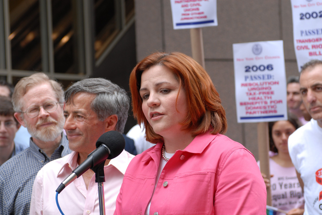NYC Gay Pride Parade 2006<br /> Parade Co-Grand Marshall Florent, NY City Council Speaker and Parade Co-Grand Marshall Christine Quinn at the Press Conference ©2006 Mark Forman Productions, Corp. screeningroom.com