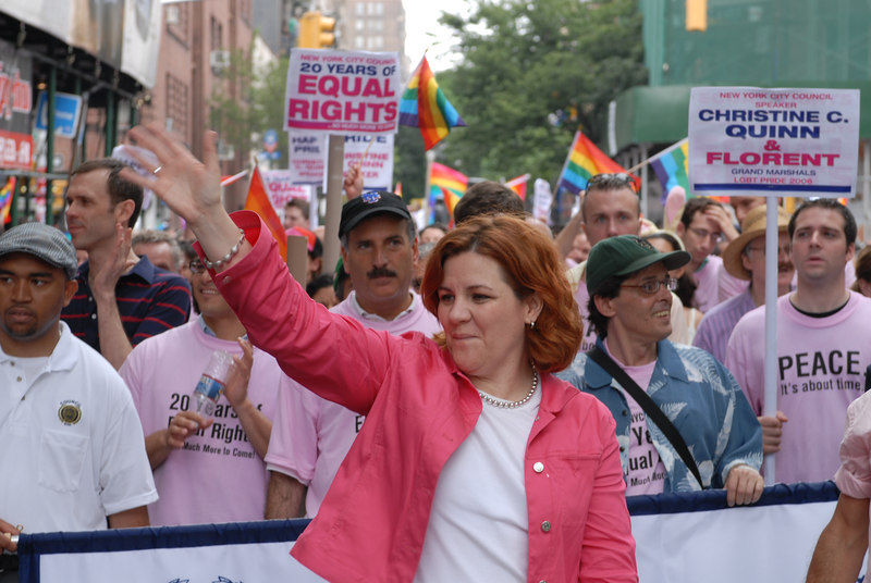 NYC Gay Pride Parade 2006<br /> NY City Council Speaker and Parade Co-Grand Marshall Christine Quinn at the head of the March. ©2006 Mark Forman Productions, Corp. screeningroom.com