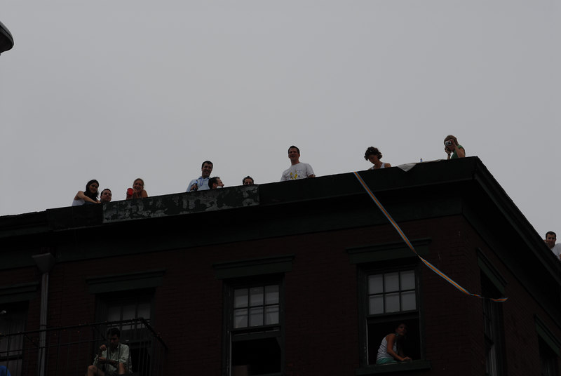 NYC Gay Pride Parade 2006<br /> People on Roof ©2006 Mark Forman Productions, Corp. screeningroom.com