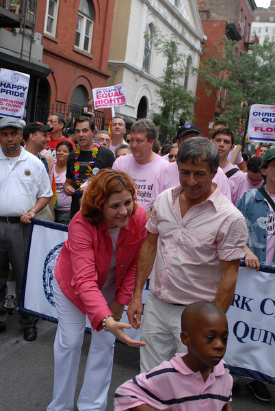 NYC Gay Pride Parade 2006<br /> Parade Co-Grand Marshall Florent, NY City Council Speaker and Parade Co-Grand Marshall Christine Quinn at the head of the March with Kid ©2006 Mark Forman Productions, Corp. screeningroom.com