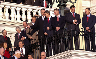 Newly elected freshman members of the upcoming 112th Congress assemble on the steps of the U.S. Capitol  prior to posing for a class photo. November 19, 2010 in Washington, DC. (Photo by Jeff Malet)