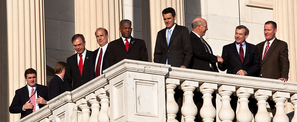 Newly elected freshman members of the upcoming 112th Congress assemble on the steps of the U.S. Capitol  prior to posing for a class photo. November 19, 2010 in Washington, DC. They have just completed a week of orientation prior to taking office in January. (Photo by Jeff Malet)