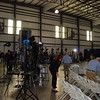 The national and local press sets up for broadcast.