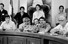 Palestinian leader Yasser Arafat, left, participates at a meeting with Nicaraguan leader sandinist and member of Nicaraguan assembly Daniel Ortega, right, and others members of Government Assembly, Managua, Nicaragua, July 21, 1980. (Austral Foto/Renzo Gostoli)