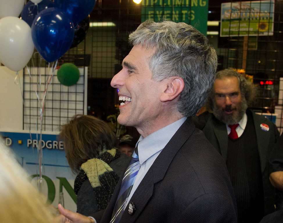 Congressional candidate Norman Solomon greets election workers during the election party at  his campaign headquarters in San Rafael, Calif., on Tuesday,  June 5th, 2012.