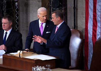 A hot microphone on the podium caught Speaker John Boehner (R-OH) and Vice President Joe Biden chatting about their golf games as they waited for the president to arrive in the House chamber.