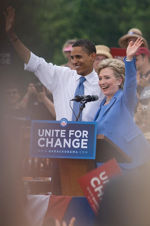 Obama and Clinton, Unity, NH