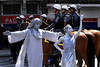 People pose as Christ the redeemer and Liberty sculptures while they protest against the visit of U.S. President Barack Obama in Rio downtown, Rio de Janeiro, Brazil, march 20, 2011.  (Austral Foto/Renzo Gostoli)
