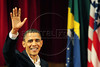 HAND OUT PHOTO Rio de Janeiro state government - U.S. President Barack Obama waves after delivering a speech at Municipal Theater, Rio de Janeiro, Brazil, March 20, 2011. (Austral Foto/Marino Azevedo)