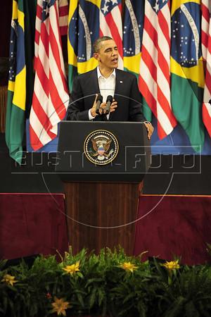 HAND OUT PHOTO Rio de Janeiro state government - US president Barack Obama speaks at Theatro Municipal, Rio de Janeiro, Brazil, March 20, 2011. (Austral Foto/Marino Azevedo)