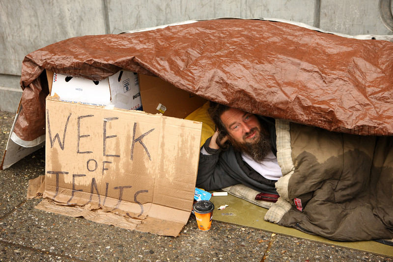 John Martin, who has been staging a protest against Mayor Sullivan's homeless policies for several months