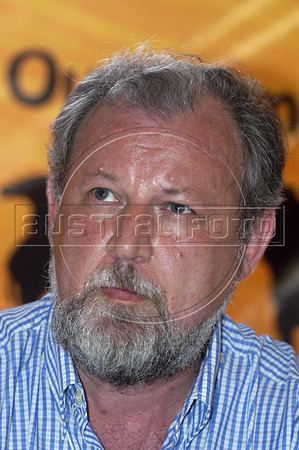 Joao Pedro Stedile, A founding member of the Landless Rural Workers Movement (MST), appears during the closing cerimony of the World Social Forum, in Porto Alegre, Brazil, Jan. 31, 2005.  The World Social Forum was timed to coincide with its nemesis, the World Economic Forum held thousands of kilometers (miles) away in the swank Swiss mountain resort of Davos.(AustralFoto/Douglas Engle)