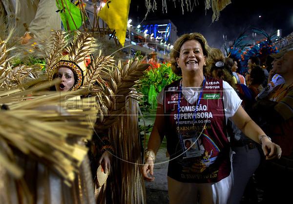 Brazilian federal deputy Solange Amaral of the Democratics Party (DEM ) takes part of Vila Isabel samba school parade at Sambadrome, Rio de Janeiro, Brazil, Feb. 4, 2008. (Austral Foto/Renzo Gostoli)