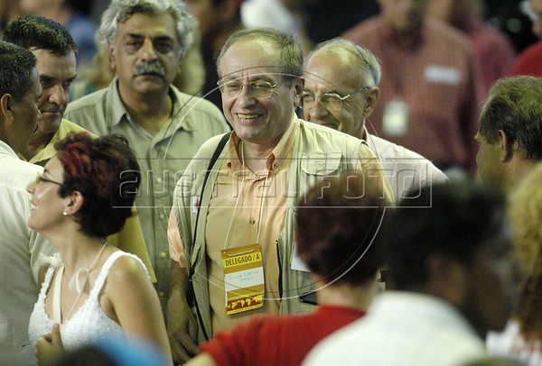 French editor of Le Monde Diplomatique Bernard Cassen enters the Gigantinho stadium before a speech by Venezuelan President Hugo Chavez at the World Social Forum, Jan. 30, 2005. Chavez stole the show at the Forum and announced that Venezuela will host the Forum of the Americas  in 2006.  The World Social Forum was timed to coincide with its nemesis, the World Economic Forum held thousands of kilometers (miles) away in the swank Swiss mountain resort of Davos. (AustralFoto/Douglas Engle)