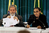 "Brazilian President Luiz Inacio Lula da Silva looks on as Marina Silva, his Environment Minister, delivers remarks about the Amazon rain forest during a meeting at Planalto Palace in Brasilia. Silva - no relation to President Lula da Silva - resigned her position on May 13, 2008. Silva, who was looked at as a champion of environmentalists but scorned by powerful farming groups, said she stepped down due to difficulties she faced ""in carrying out the national environment agenda."" A devoted defender of the Amazon rain forest and close ally of the president, Silva held her post since Lula took office in 2003.  (AustralFoto)"