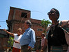 Executive Director of the United Nations Human Settlements Programme Anna Tibaijuka, right, visits a slum in Rio de Janeiro, Brazil, Sunday, October 5, 2003. Tibaijuka is in Rio to conmemorate World Habitat Day, Oct. 6, 2003.(Australfoto/Douglas Engle)