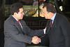 US Attorney General Alberto Gonzales, left, greets Rio de Janeiro Governor Sergio Cabral during a visit to Rio de Janeiro in Feb. 2007.(AustralFoto/Douglas Engle)
