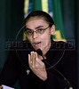 "Marina Silva, Environment Minister of Brazil, delivers remarks about the Amazon rain forest during a meeting at Planalto Palace in Brasilia. Silva - no relation to President Lula da Silva - resigned her position on May 13, 2008. Silva, who was looked at as a champion of environmentalists but scorned by powerful farming groups, said she stepped down due to difficulties she faced ""in carrying out the national environment agenda."" A devoted defender of the Amazon rain forest and close ally of the president, Silva held her post since Lula took office in 2003.  (AustralFoto)"