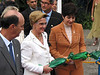 Queen of Norway Sonja, center, walks with Rio de Janeiro state Governor Rosinha Garotinho, right, after the inauguration of a Norwegian-commissioned ship at a shipyard in Niteroi, Brazil. Sonja is in Brazil on a seven-day state visit.(Douglas Engle/Australfoto)