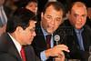 Rio de Janeiro Governor Sergio Cabral speaks to US Attorney General Alberto Gonzales, left on a visit to Rio de Janeiro in Feb. 2007.(AustralFoto/Douglas Engle)